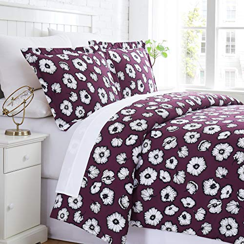 Essence Collection - Premium Quality, Soft, Wrinkle, Fade, & Stain Resistant, Easy Care, Oversized Duvet Cover Set, Full/Queen, Purple