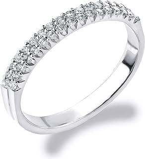 14K Gold 0.25 CT Double Row Diamond Anniversary Ring