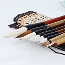 Corciosy Shanlian Hubi Writing Brush Watercolor Chinese Calligraphy Brush Set Kanji Japanese Sumi Painting Drawing Brushes 10 piece/set+Roll-up Bamboo Brush Holder
