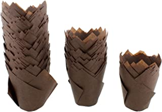 SpecialT Tulip Cupcake Liners – 200 Ct Large Brown Tulip Style Muffin Cups Paper – Baking Cups, Cupcake Wrappers