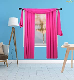 Voile Curtains 108inches Long by 29in Sheer Backdrop Curtains Hot Pink Sheer Curtain Soho Voile Curtain Chiffon Backdrop for Bed Room Living Room-M1007
