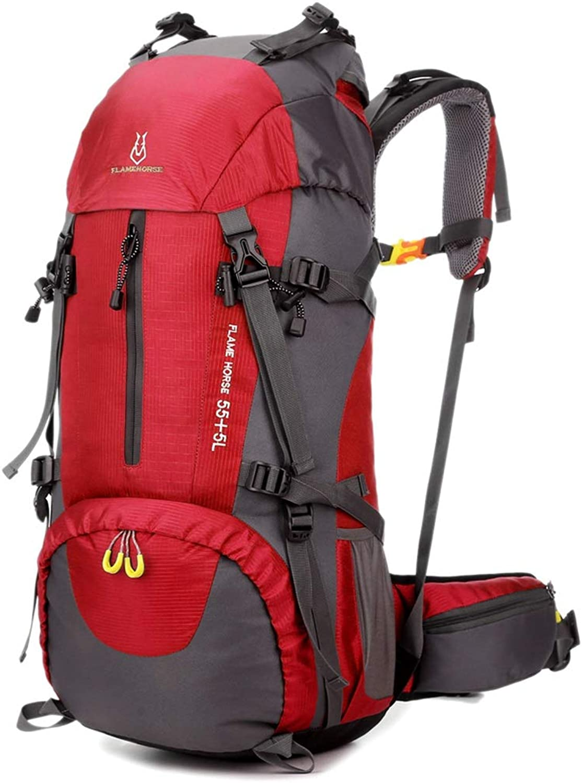 LiShihuan Outdoor Climbing Bag Shoulders Men and Women 60L Large Capacity Backpack Nylon Waterproof Travel Bag (color   Red)