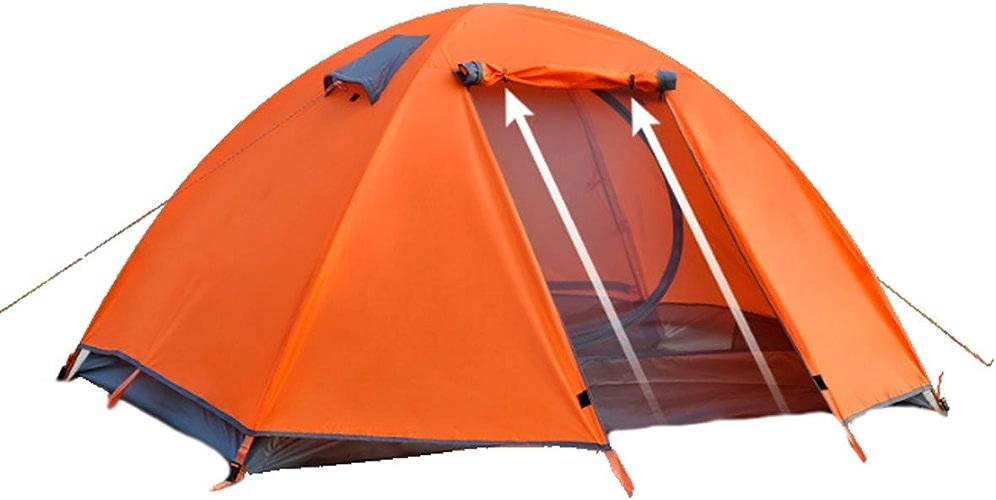 Facile En Plein Air Camping Lumière 2 Personne Tente,Orange-M