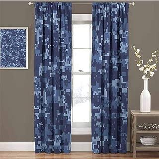 Camo Premium Blackout Curtains Militaristic Digital Effected Armed Forces Pattern Grunge Fashion in Blue Kindergarten Noise Reduction Curtains W54 x L63 Inch Dark Blue Pale Blue