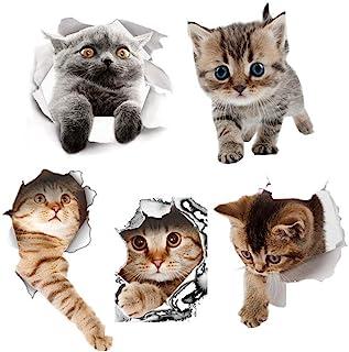 Hangnuo ウォールステッカー猫 シール式 3D 装飾 おしゃれ 壁紙 はがせる 剥がせる カッティングシート 雑貨 ガラス 窓 DIY パーティー イベント トイレ キッチン (5匹の猫セット)