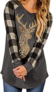 Eoeth Women Merry Christmas Elk Car Print Plaid Tee Top Casual Simple Comfortable Long Sleeve Xmas T-Shirt Blouse Pullover