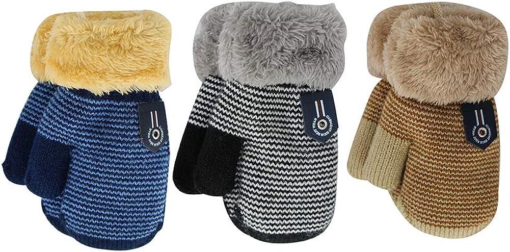 ORVINNER 3 Pairs Baby Boys Girls Winter Sherpa Lined Mittens Toddler Kids Warm Knit Gloves with String (Navy stripe/Beige stripe/Black stripe): Clothing