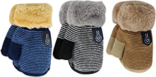 3 Pairs Baby Boys Girls Winter Sherpa Lined Mittens Toddler Kids Warm Knit Gloves with String