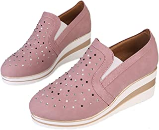Padaleks Women's Comfortable Leather Loafers Slip On Platform Wedges Sneakers Round Toe Walking Shoes Plus Size