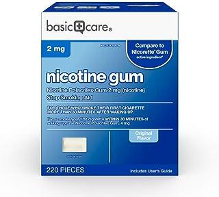 Basic Care Nicotine Polacrilex Gum, 2 mg (nicotine), Original Flavor, Stop Smoking Aid, 220 Count