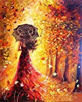 Paint by Numbers-DIY Digital Canvas Oil Painting Adults Kids Paint by Number Kits Home Decorations-Red Dress Girl 16 * 20...
