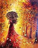 Fuumuui DIY pintura por números, DIY pintura al óleo digital sobre lienzo Regalo - 16x20 pulgadas (vestido rojo de niña)