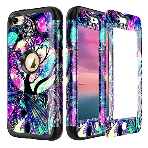 Lamcase for iPod Touch 7th Gen 2019 Case, iPod Touch 7/6/5 Case Shockproof Hybrid Rubber Dual Layer Armor Protective Case Cover for Apple iPod Touch 7th/6th/5th Generation, Life Tree