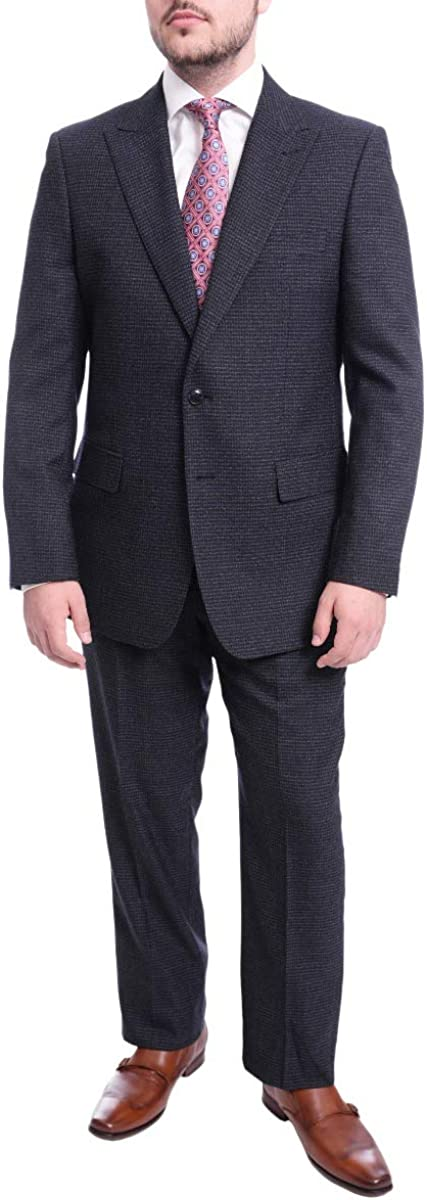 Steven Land Classic Fit Navy Blue Check Two Button Wool Suit with Peak Lapels
