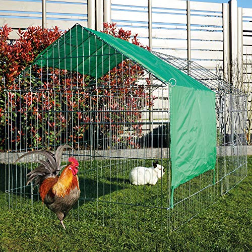 zooprinz Mobiles Außengehege mit Satteldach und Sonnenschutz - ideal für Hüh-ner und Kaninchen im Garten - Wetterfestes stabiles Metall - Platzsparend vers-taubar - 3 Größen zur Wahl (L/Länge 220 cm)
