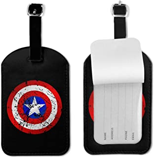 Luggage Tag with Full Privacy Cover Captain America PU Business Card Holder for Baggage Bag Name Address ID Label Travel Identifier Accessories