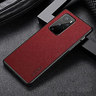 oneplus 9 pro slim case cover TPU Around The Edge Perfect Protection PU Leather + Silicone Case (dark red)