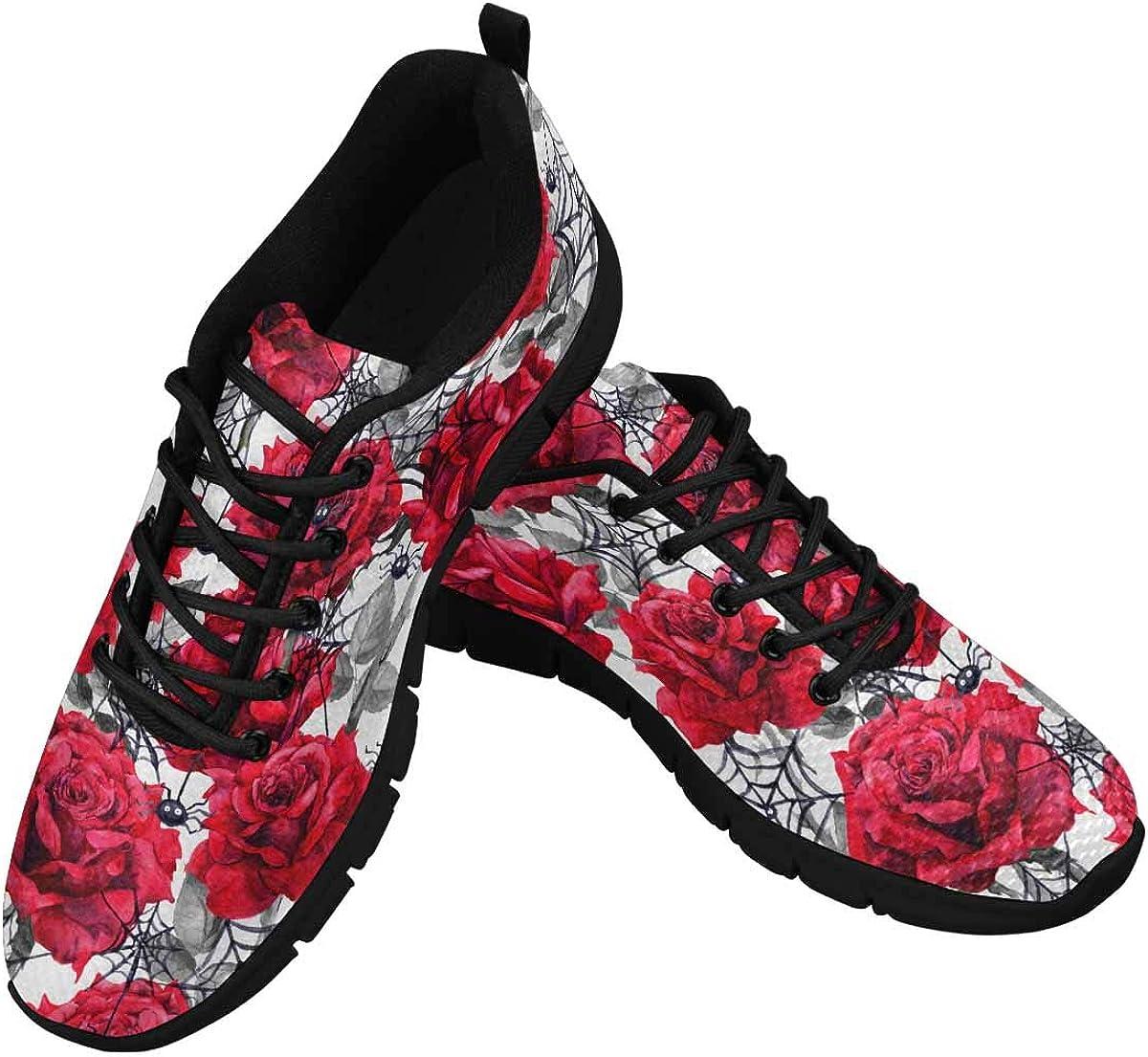 INTERESTPRINT Red Peonies Women's Athletic Mesh Breathable Casual Sneakers