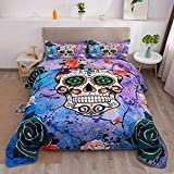 SweetDreaming Flower Skull Twin Comforter Sets Bedding Sets - 3PC Rose Cross Colorful Soft Microfiber Lightweight Quilt Sets - 69 x 87 Inches (Comforter x 1 Pillowcases x 2)