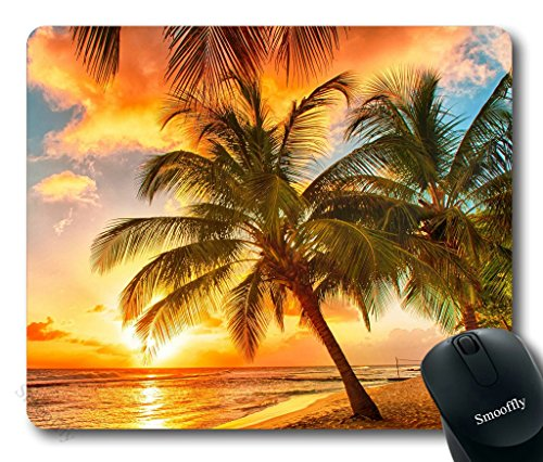 Smooffly Gaming Mouse Pad Custom,Paradise Beach with Palm Trees Mouse pad 9.5 X 7.9 Inch (240mmX200mmX3mm)