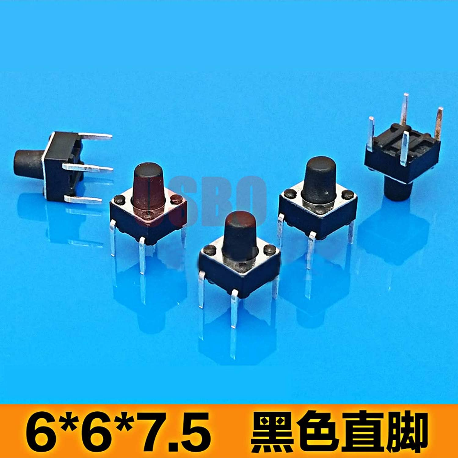 Dustproof Right Angle Light Touch Switch with Button Micro Black Tact Switch66  7.5mm 4 Legs  (color  Black)