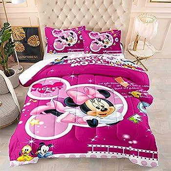 Kiusad Kids Minnie Mouse Quilt Set Full Size Mickey Minnie Mouse Bed Set 3Piece 3D Cartoon Bedding 1 Comforter + 2 Pillowcase