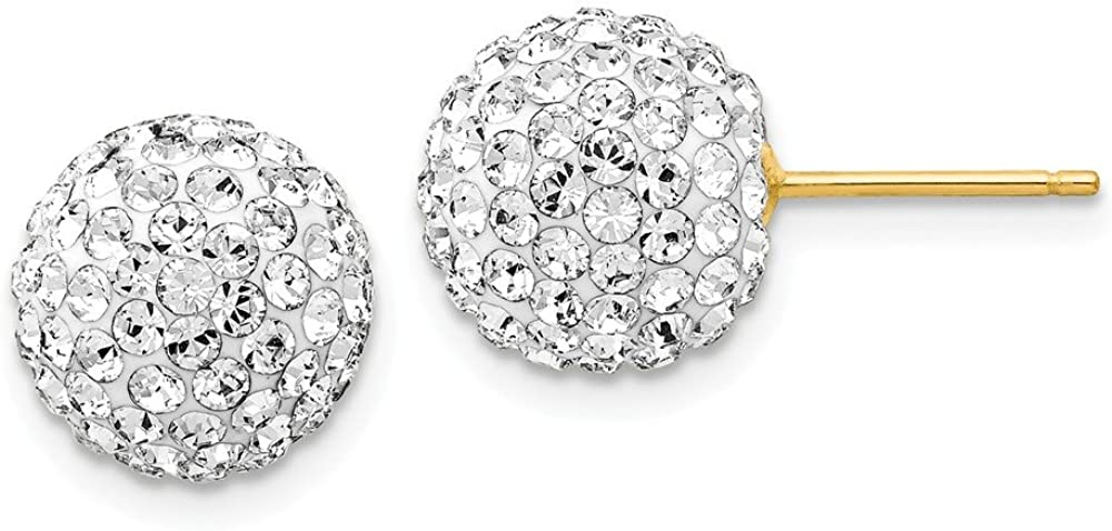 Black Bow Jewelry 10mm Crystal Ball Earrings with a 14k Yellow Gold Post