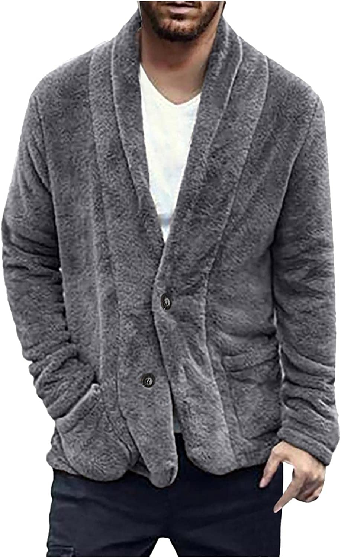LEIYAN Mens Fluffy Fuzzy Sherpa Jacket Long Sleeve Button Down Warm Winter Fleece Teddy Open Front Cardigan Coat