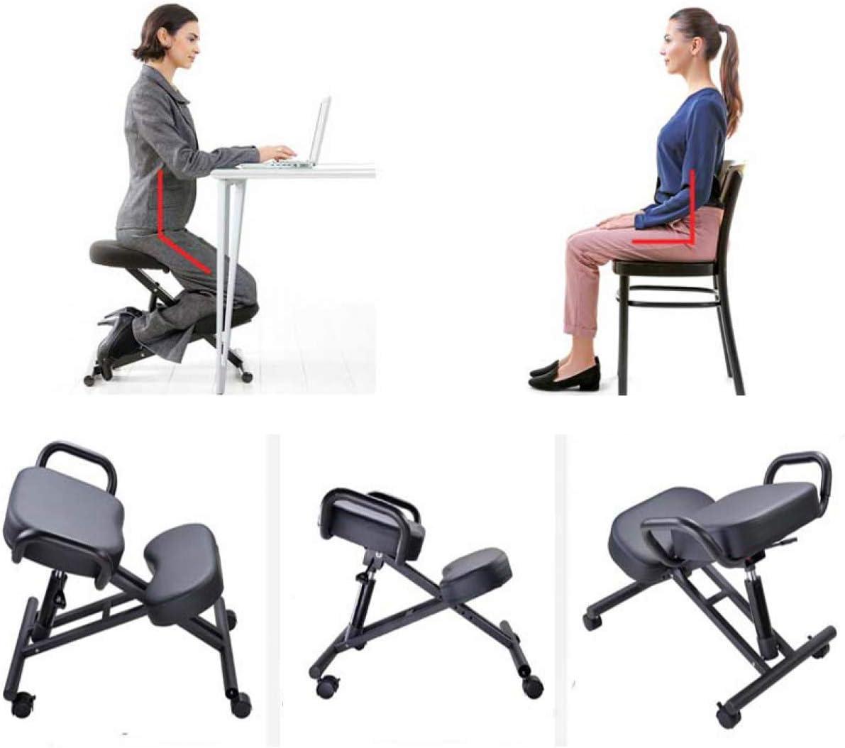 Autopeck Chaise ergonomique à genoux de bureau Réglable Posture Tabouret Maison Confortable Améliorer Siège Genoux Orthopédique Soins de Santé Sièges Marron Foncé