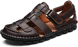 ZHShiny Mens Summer Casual Closed Toe Leather Sandals Outdoor Fisherman Adjustable Beach Shoes Size 11 12 13
