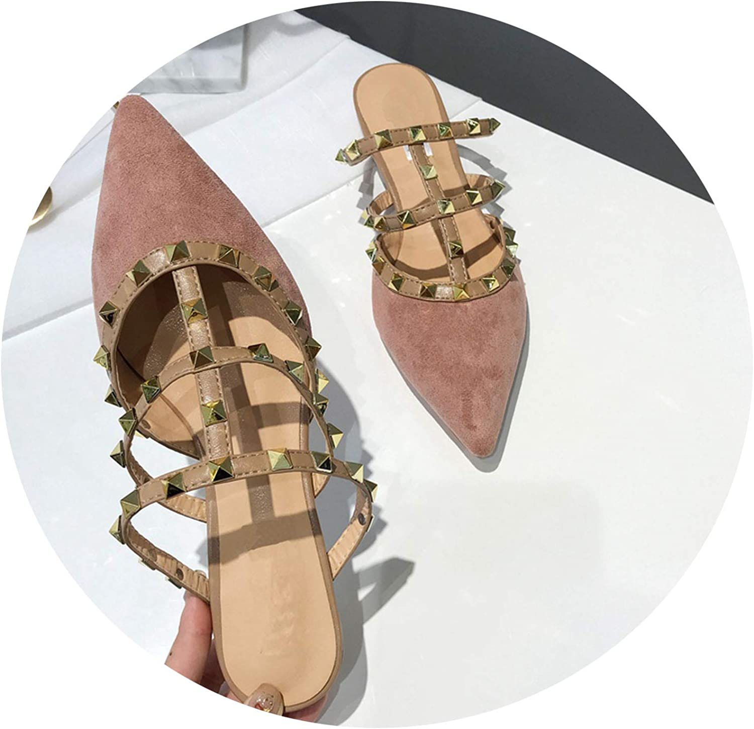 Monicas-house Women Luxury Rivet T-Strap Flat Mules Slipper Woman Pointed Sandal shoes Flat Suede Slides Slip On Loafers Mules