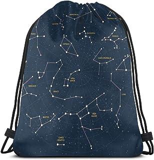 Drawstring Backpack Unisex Bag for Gym Traveling, Sky Map Andromeda Lacerta Cygnus Lyra Hercules Draco Bootes Lynx