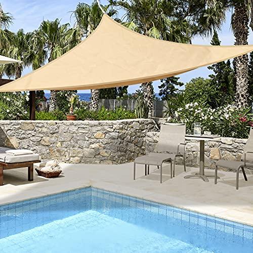 Luckits Tenda da Sole UV Tenda da Sole Triangolo a Vela 3x3x3m Triangolo HDPE Telo di Protezione Solare Balcone Giardino 160GSM Materiale Parasole in Tessuto Protezione Solare Anti-UV Tettoia
