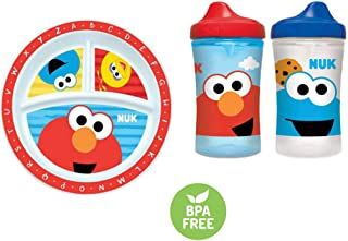 NUK Sesame Street Three Section Plate and Two Sippy Cups in Red and Blue (Bundle of 3)