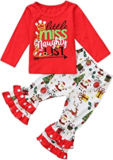 Christmas New Year Outfit Toddler Baby Girls Long Sleeve Shirt Tunic Top Ruffle Pant Holiday Novelty Clothes 2Pc