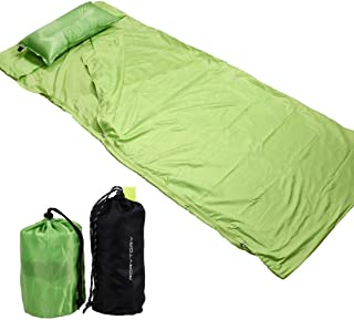 RoryTory Green Portable Inflatable Camping Pillow with Sleeping Bag Liner Set