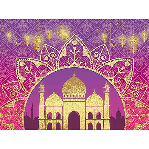 Allenjoy 8x6ft Arabian Nights Moroccan Party Photography Backdrop Magic Genie Gold Palace Happy Birthday Sweet 16 Banner Background Indian Bollywood Portrait Newborn Baby Shower Decors Photo Booth