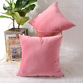 MERNETTE Pack of 2, Velvet Soft Decorative Square Throw Pillow Cover Cushion Covers Pillow case, Home Decor Decorations for Sofa Couch Bed Chair 18x18 Inch/45x45 cm (Pink)