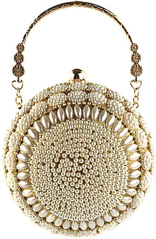 Happyplus1 Damen Elegant Clutch Abendtasche, Dame Abendtasche Perlen Perle Perle Perle Metallic Griff Runde Design Clutch Purse Handtaschen für Hochzeit Schultertasche Umhängetasche B07MGKLLSB  Hochwertige Materialien 1c2e34