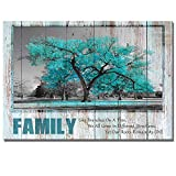 Visual Art Decor Sweet Home Rustic Teal Family Tree Quote Canvas Prints Poster Framed and Stretched Green Picture Love Rules Home Living Room Dining Room Decoration (01, 28x40)