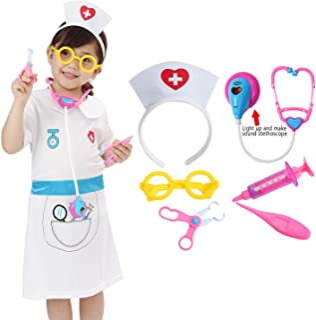 Wizland Child Role Play Costume Dress up Nurse Costume Nurse Kit for Kids