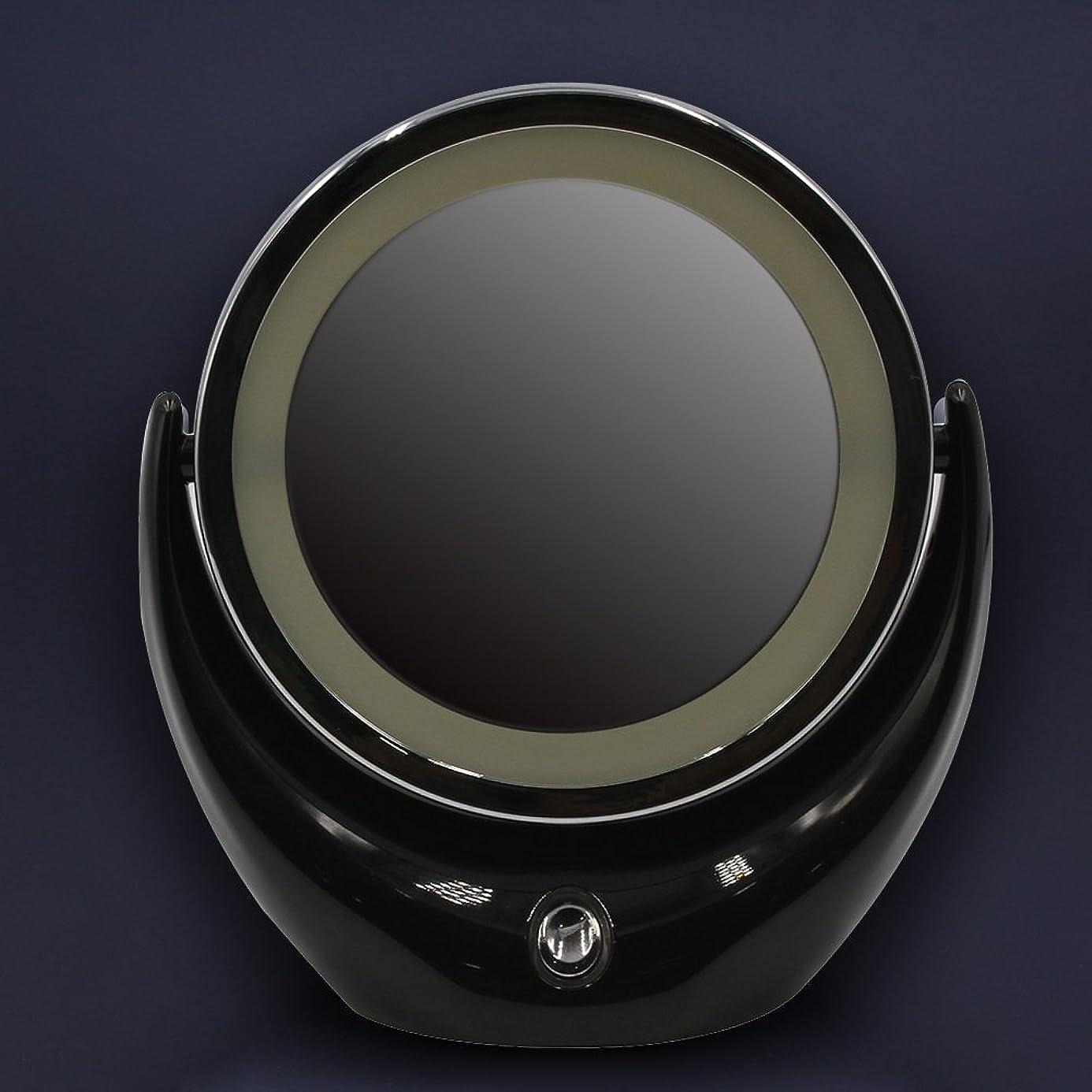 旋回鉛民兵Yumbyss - LED表化粧品メイクアップミラー360回転ミラー照光が主導光女性ミラー両面ルミナス3色[ブラック]