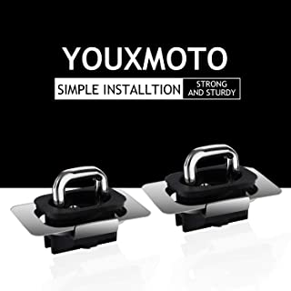 Youxmoto 2 Pcs Retractable Truck Top Bed Mounted Anchors Tie Down Anchors, D Hook Rings for 2009-2018 Dodge Ram 1500 2500 3500