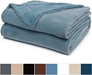 The Connecticut Home Company Micromink Velvet with Sherpa Bed Throw Blanket, Twin Size 80x60 Super Soft, Large Reversible Blankets, Warm Hypoallergenic Washable Throws for Beds, Slate Blue