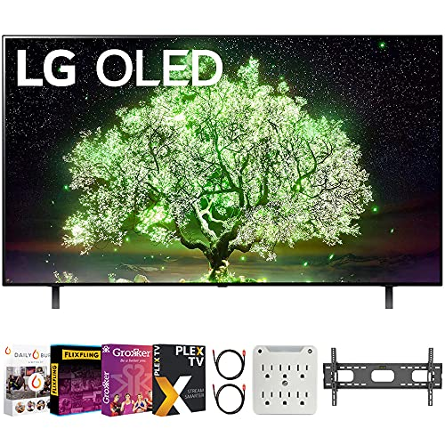 LG OLED48A1PUA 48 Inch A1 Series 4K HDR Smart TV with AI ThinQ 2021 Bundle with Premiere Movies Streaming 2020 + 37-70 Inch TV Wall Mount + 6-Outlet Surge Adapter + 2X 6FT 4K HDMI 2.0 Cable