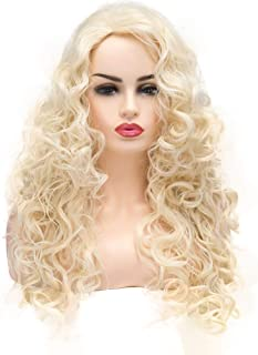 BESTUNG Long Blonde Hair Curly Wavy Full Head Halloween Wigs for Women Cosplay Costume Party Hairpiece (613#-Pale Blond)