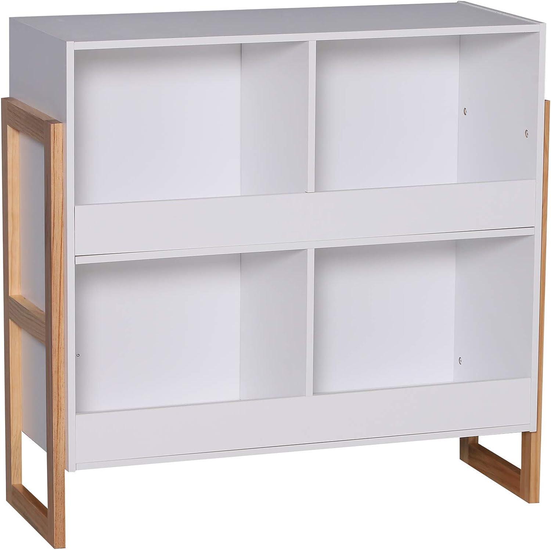 HOMCOM 4 Cubes Living Room Entryway Storage Cabinet Display Organizer Rack White