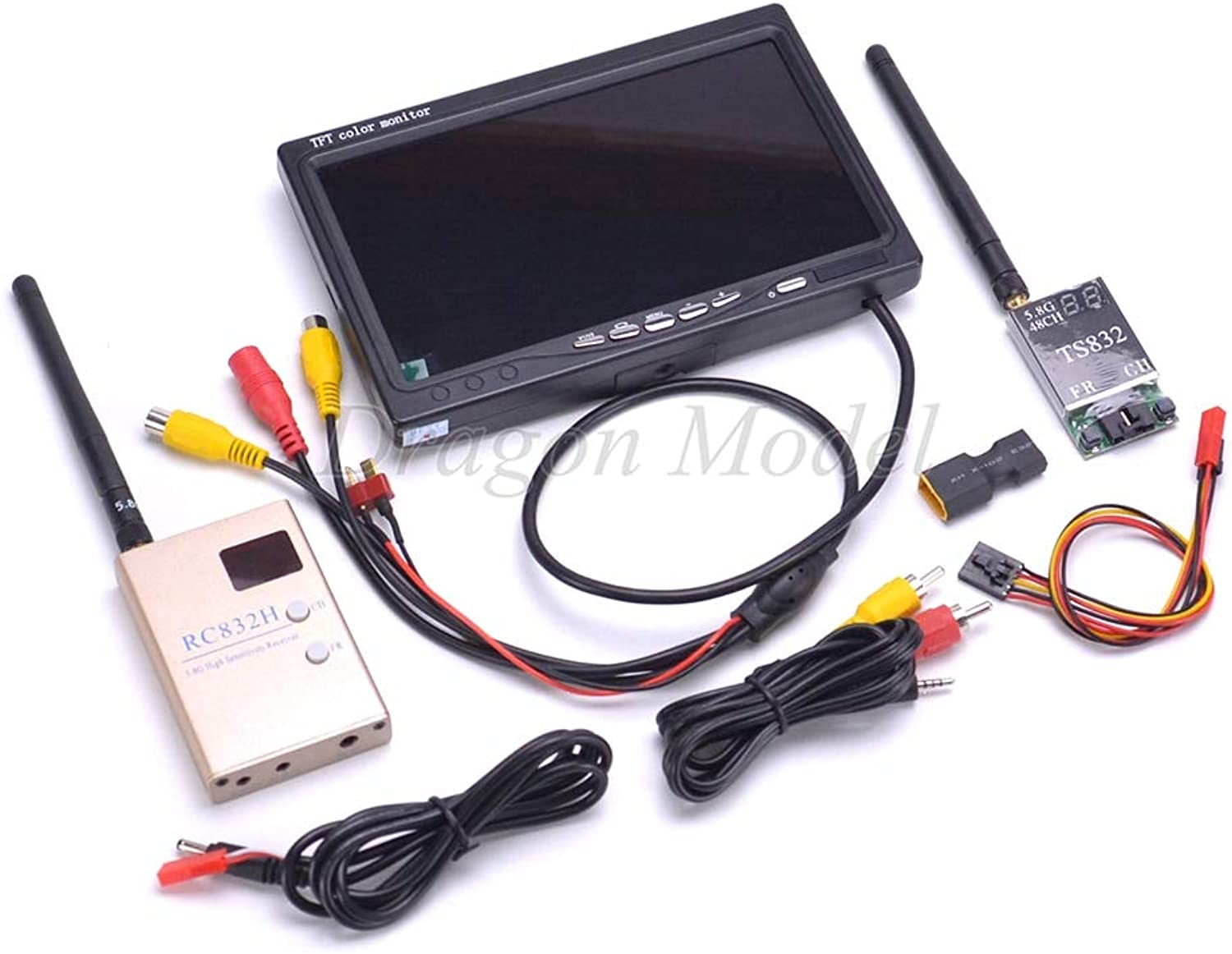 Laliva FPV 5.8G TS832 Transmitter RC832 RC832H Receiver 600mW 48CH & 7 inch 7  LCD TFT 1024 x 600 Monitor NO bluee for FPV RC Quadcopter