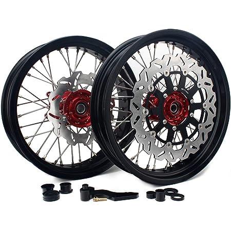 T Tarazon Supermoto Front Wheel Rim 17 X 3 5 Inches Rear Wheel Rim 17 X 5 0 Inches With Front Rear Brake Discs Brake Caliper Adapter For 125 525 Sx Mxc Sxs Exc Xc Auto
