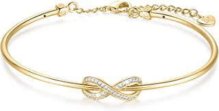 Infinity Symbol Bangle Bracelet Oval Shaped Cuff with Cubic Zirconia Gold Plated Women Jewelry (Gold)